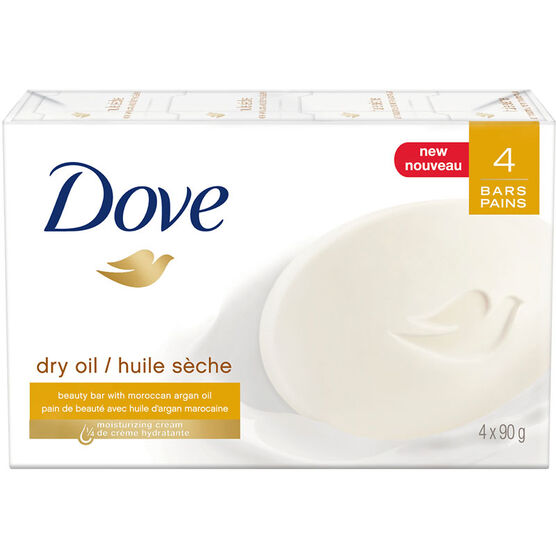 Dove Dry Oil Beauty Bar - 4 x 90g