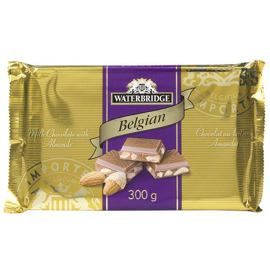 Waterbridge Chocolate Bar - Milk Chocolate with Almonds - 300g