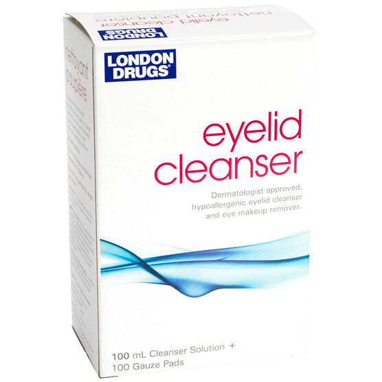 London Drugs Eyelid Cleanser with 100 Gauze Pads - 100ml