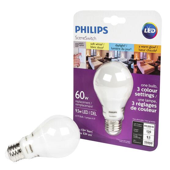 Philips A19 LED Light Bulb - Tri Colour - 60w