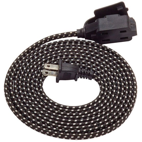 Globe Extension Cord with Outlet - Black and White