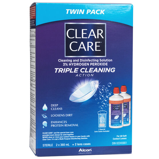 Alcon Clear Care Cleaning and Disinfecting Solution - 2 x 360 ml