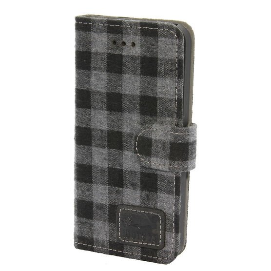 Roots 73 Plaid Folio Case for iPhone SE - Grey/Black - RPLDIP5G