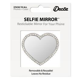 iDecoz Cubic Zirconia Heart Shaped Selfie Mirror - Silver
