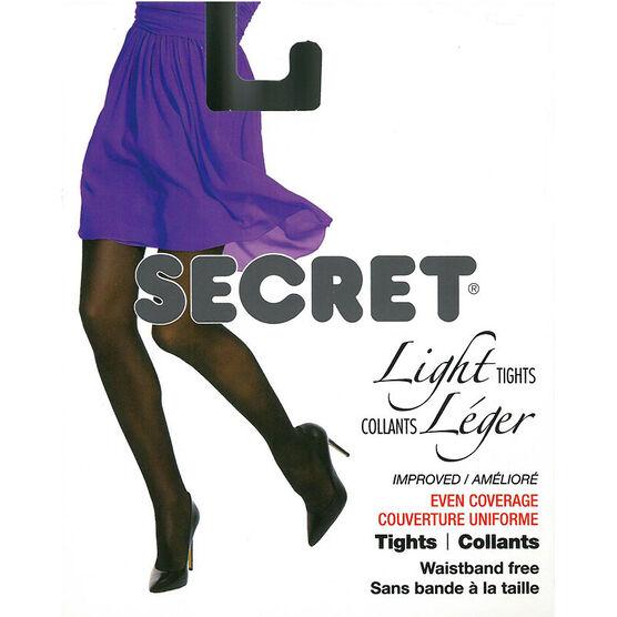 Secret Light Waistband Free Tights - C - Black