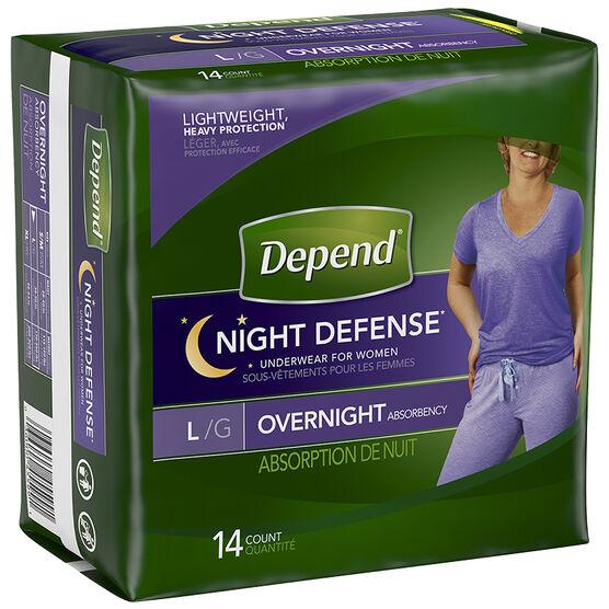 Depend Night Defense Underwear for Women - Large - 14's