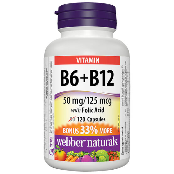 Webber Naturals Vitamin B6 & B12 with Folic Acid - 90's