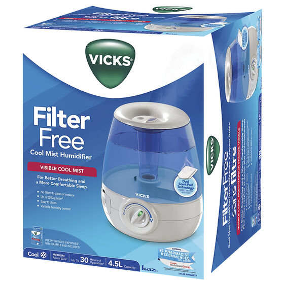Vicks 4.5L Filter Free Cool Mist Humidifier - V4600-CAN