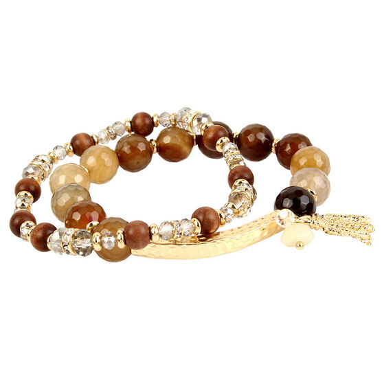 Haskell Two Bead Bracelet Set - Brown/Gold