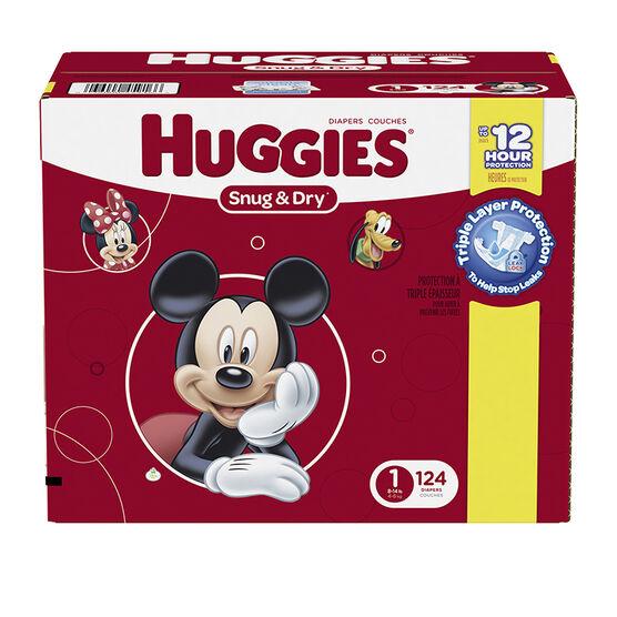 Huggies Snug & Dry Diapers - Size 1 - 124's