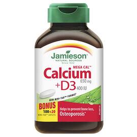 Jamieson Mega CalTM Calcium 650 mg + Vitamin D3 400 IU  - 100's