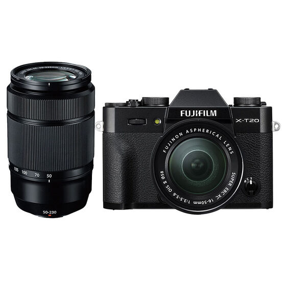 Fuji X-T20 with XC 16-50mm and XC 50-230mm Lens - Black/Black - PKG #56009