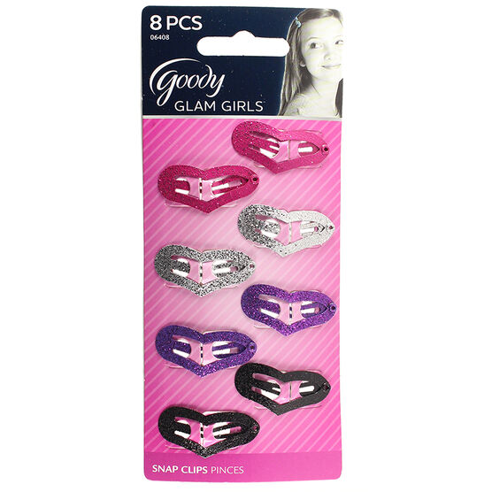 Goody Glam Girls Glitter Heart Snap Clips - 8's