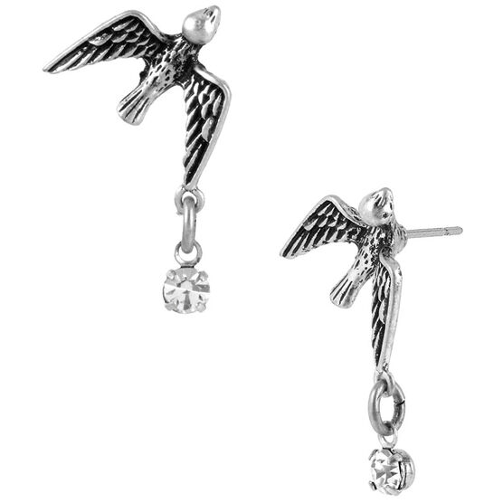 Betsey Johnson Bird and Crystal Stud Earrings - Silver Tone
