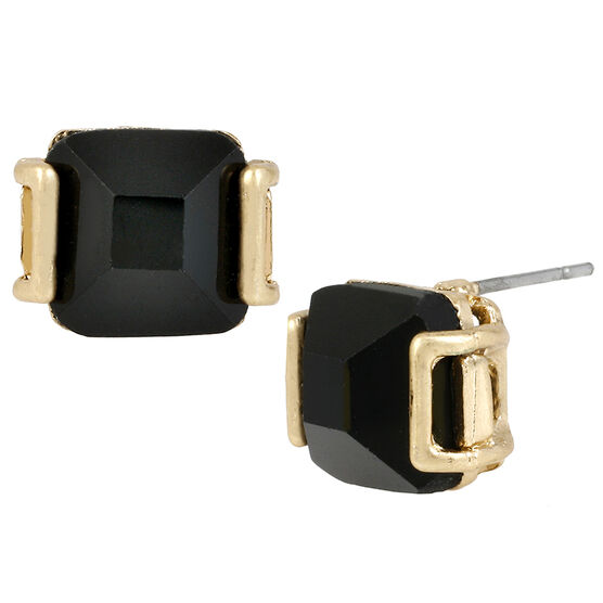 Kenneth Cole Stud Earrings - Jet/Gold Plated
