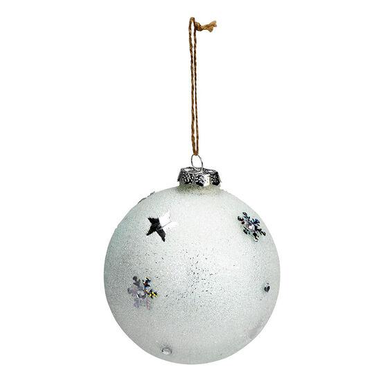 Polar Ice Icy Snowflake Ball Ornament - 10cm