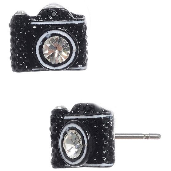 Betsey Johnson Camera Stud Earrings - Black