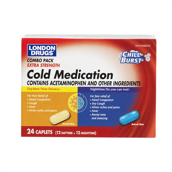London Drugs Extra Strength Cold Relief Daytime & Nighttime Combo Pack - 24's