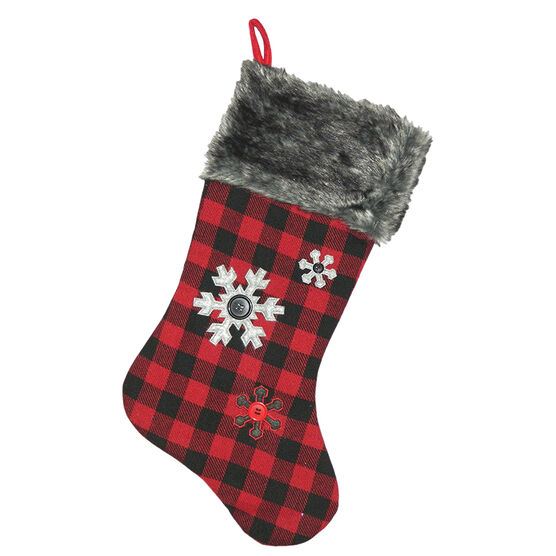 Christmas Forever Plaid Stocking with Snowflakes - 20.5in - Red/Grey - XM-US2733