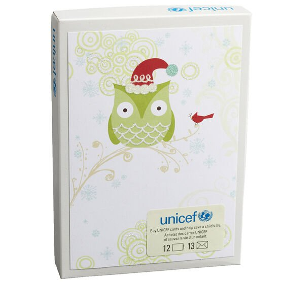 Unicef Christmas Cards - Holiday Owl - 12 pack
