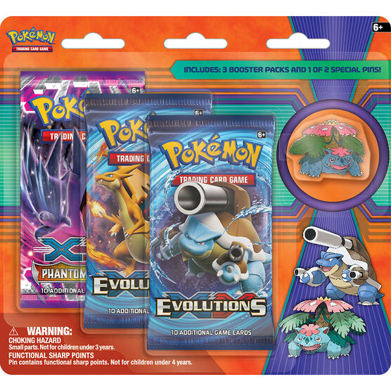 Pokémon XY12 - 3-Pack Pin Blister Pack - Assorted
