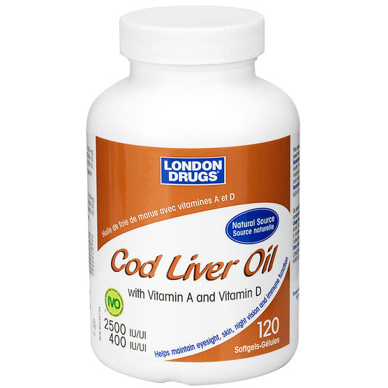 London Drugs Cod Liver Oil with Vitamin A and D- 2500iu/400iu - 120's