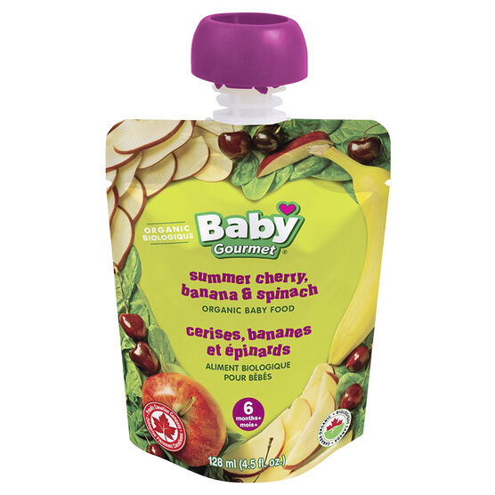 Baby Gourmet Summer Cherry, Banana & Spinach - 128ml