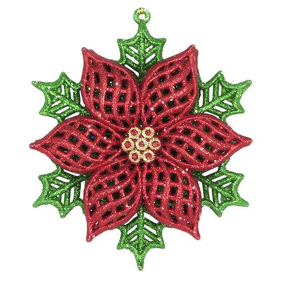 Tartan Time Poinsettia Ornament - Red/Green/Gold - 5in