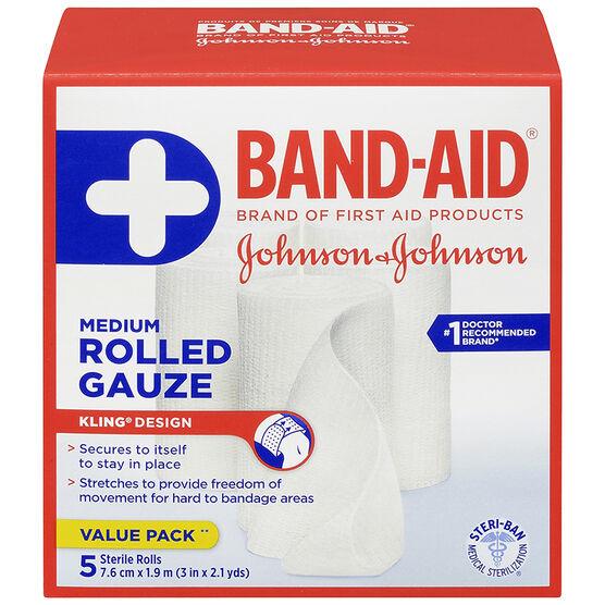 Johnson & Johnson Band-Aid Rolled Gauze - 7.6cm x 1.9m