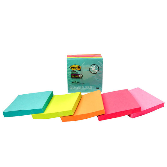 3M Post-it Super Sticky Notes - Miami - 5 pack - 3x3 inches