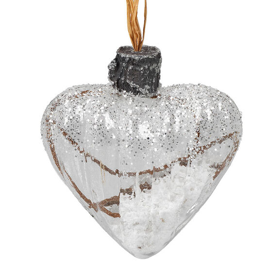 Clear Heart Ornament with Snowy Twigs