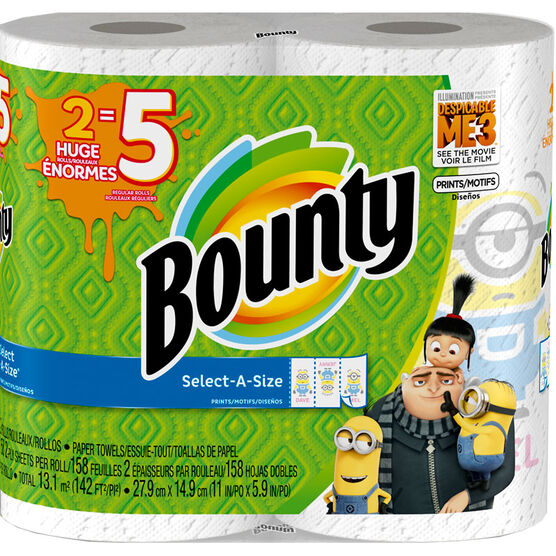 Bounty Towels Select-A-Size Prints Huge Rolls - 2's
