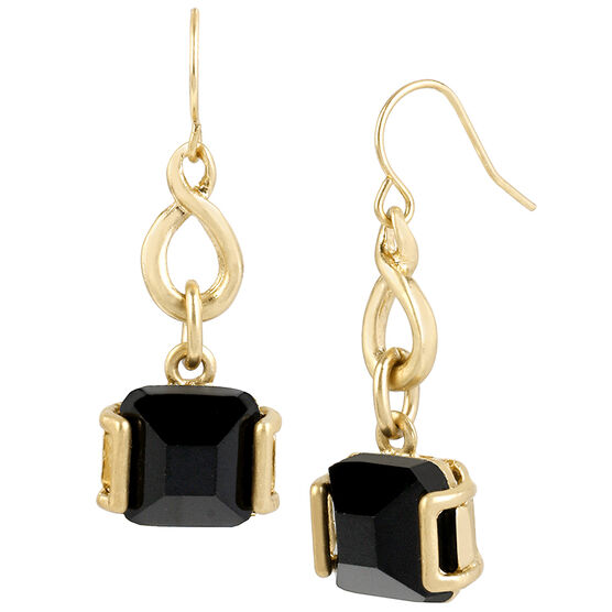 Kenneth Cole Drop Earrings - Jet/Gold Plated
