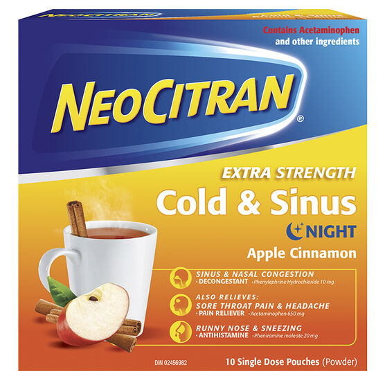 NeoCitran Extra Strength Cold & Sinus Night - Apple Cinnamon - 10's