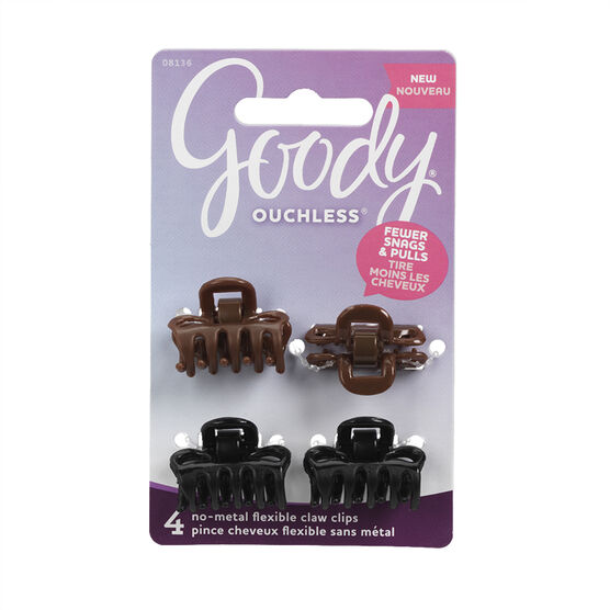 Goody Ouchless No-Metal Flexible Claw Clips Assorted - 8136 - 4's