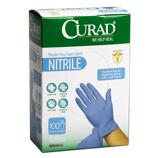 Curad Nitrile Powder Free Exam Gloves - 100's