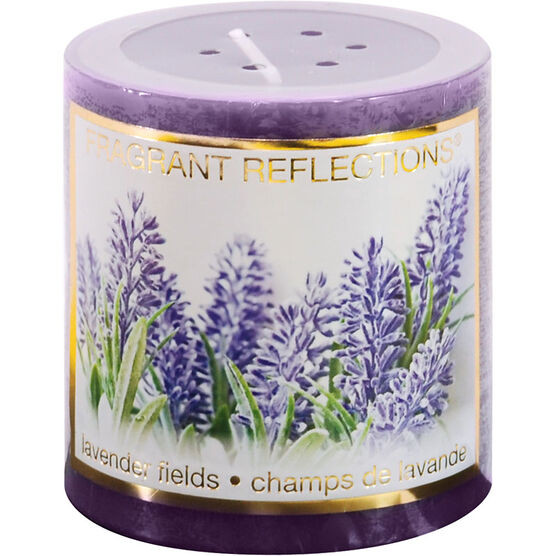 Fragrant Reflection Pillar Candle - Lavender Fields - 3 inch