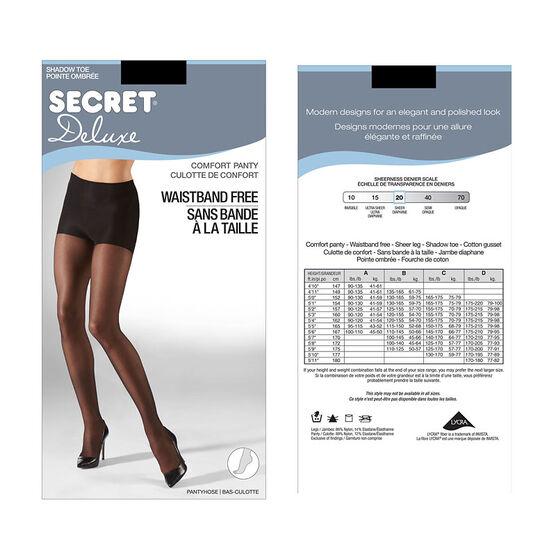 Secret Deluxe Waistband Free Comfort Top - B - Black