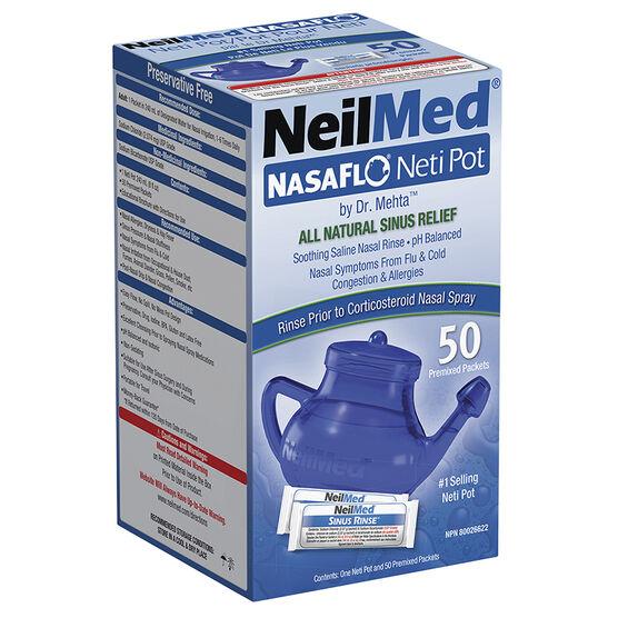 NeilMed NasaFlo Neti-Pot with Premixed Packets - 50's