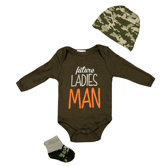 Baby Mode Ladies Man 3-Piece Onesie Set - 11042 - Assorted