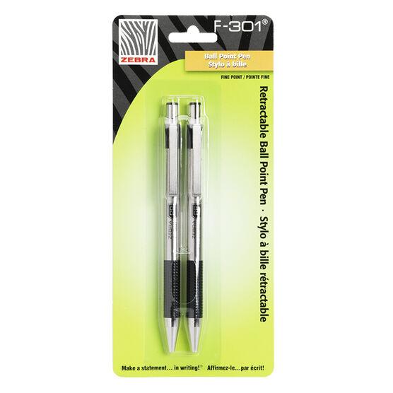 Zebra F-301 Pen - Stainless Steel - Black - 2 pack
