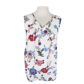 Lava Sleeveless Top with Drawstring - Blue/Floral