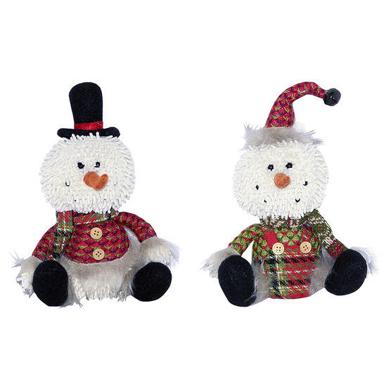 Christmas Sitting Snowman with Hat - 9in