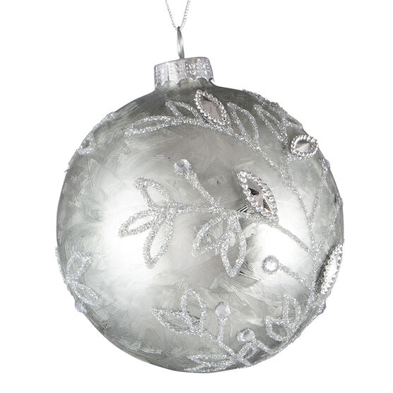 Modern Twist Glass Ball Ornament - Silver Champagne - 3.5in