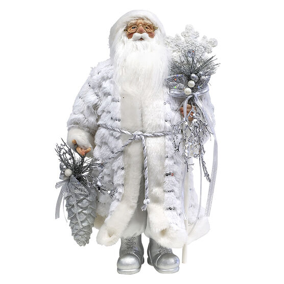 Christmas Santa Standing with Pinecone - White/Silver - 18in