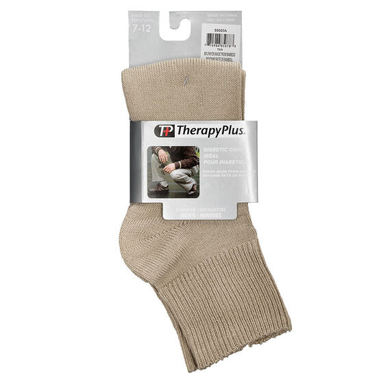TherapyPlus Men's Diabetic Quarter Socks - Shoe Size 7-12 - Tan - 1 pair