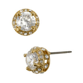 Betsey Johnson Encrusted Stud Earrings - Crystal