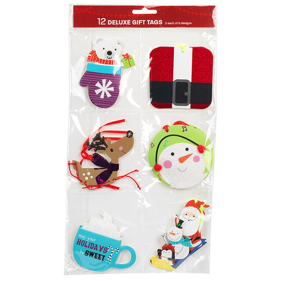 Christmas Accent Gift Tags - 12's - Assorted