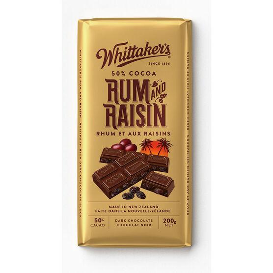 Whittaker's Dark Chocolate - Rum & Raisin - 200g