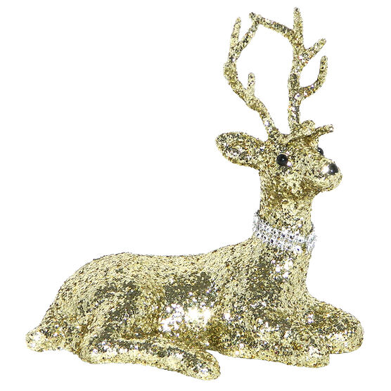 Christmas Deer with Glitter Sitting - Gold - 8in